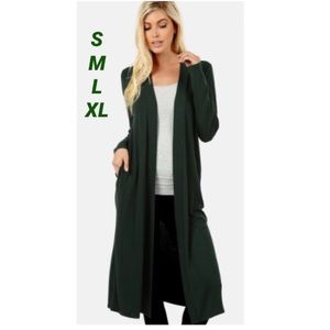 NEW Women Olive Green Long Cardigan with Pockets